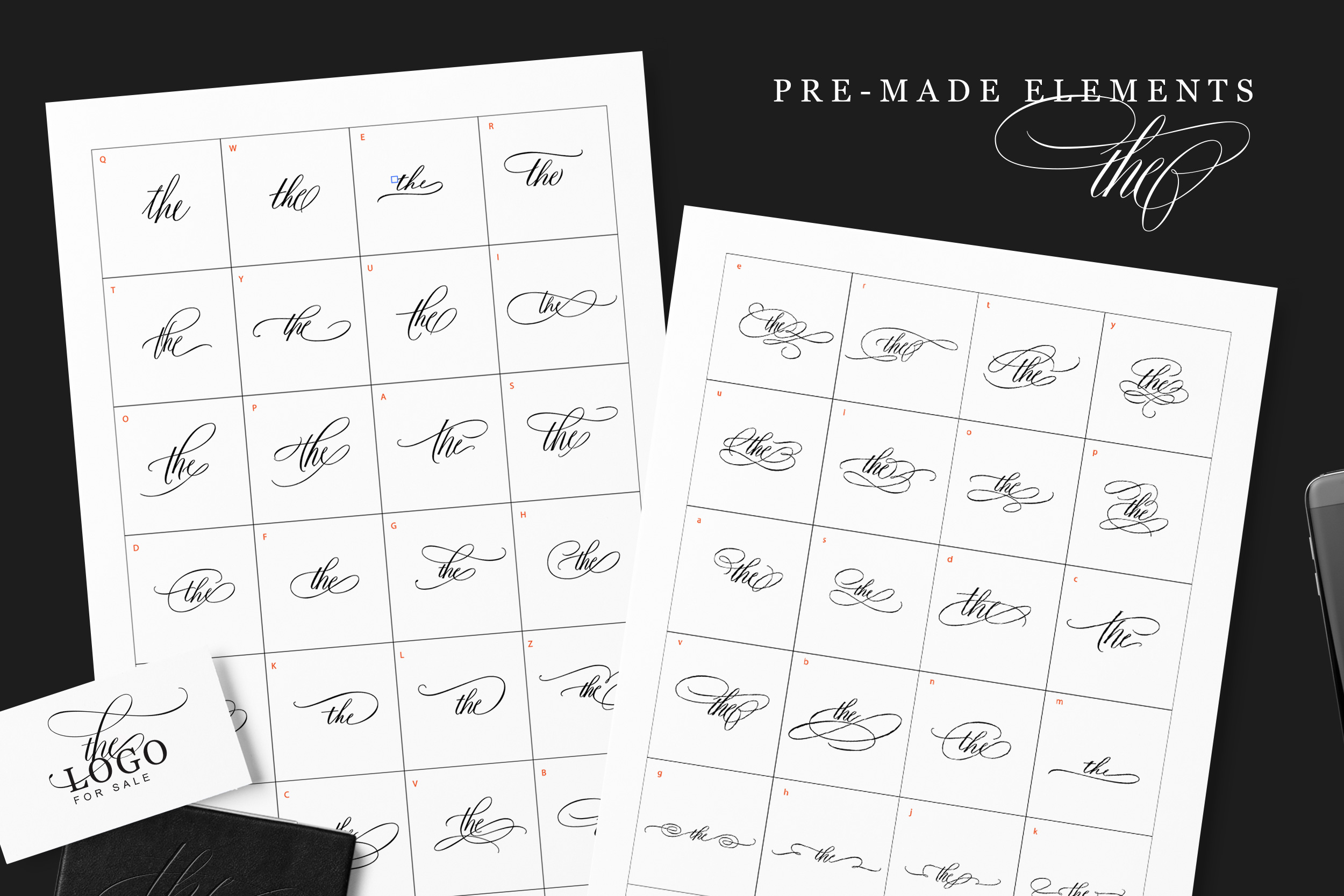 Fifty pre-made elements of