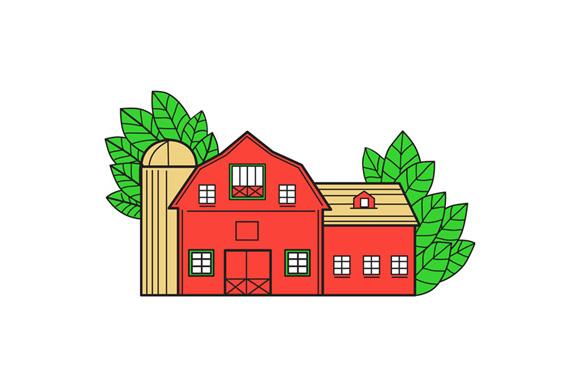 Vintage American Barn Leaves Mono Line example image 1