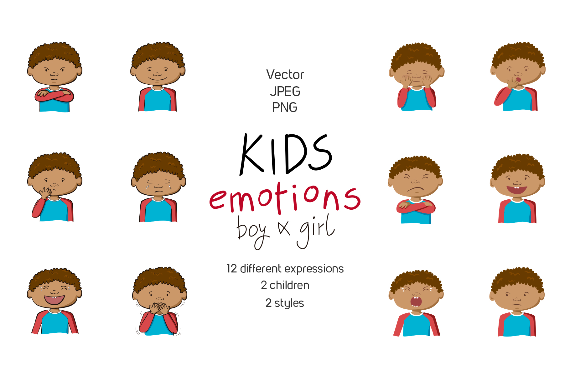 Kids emotions vector illustrations example image 3
