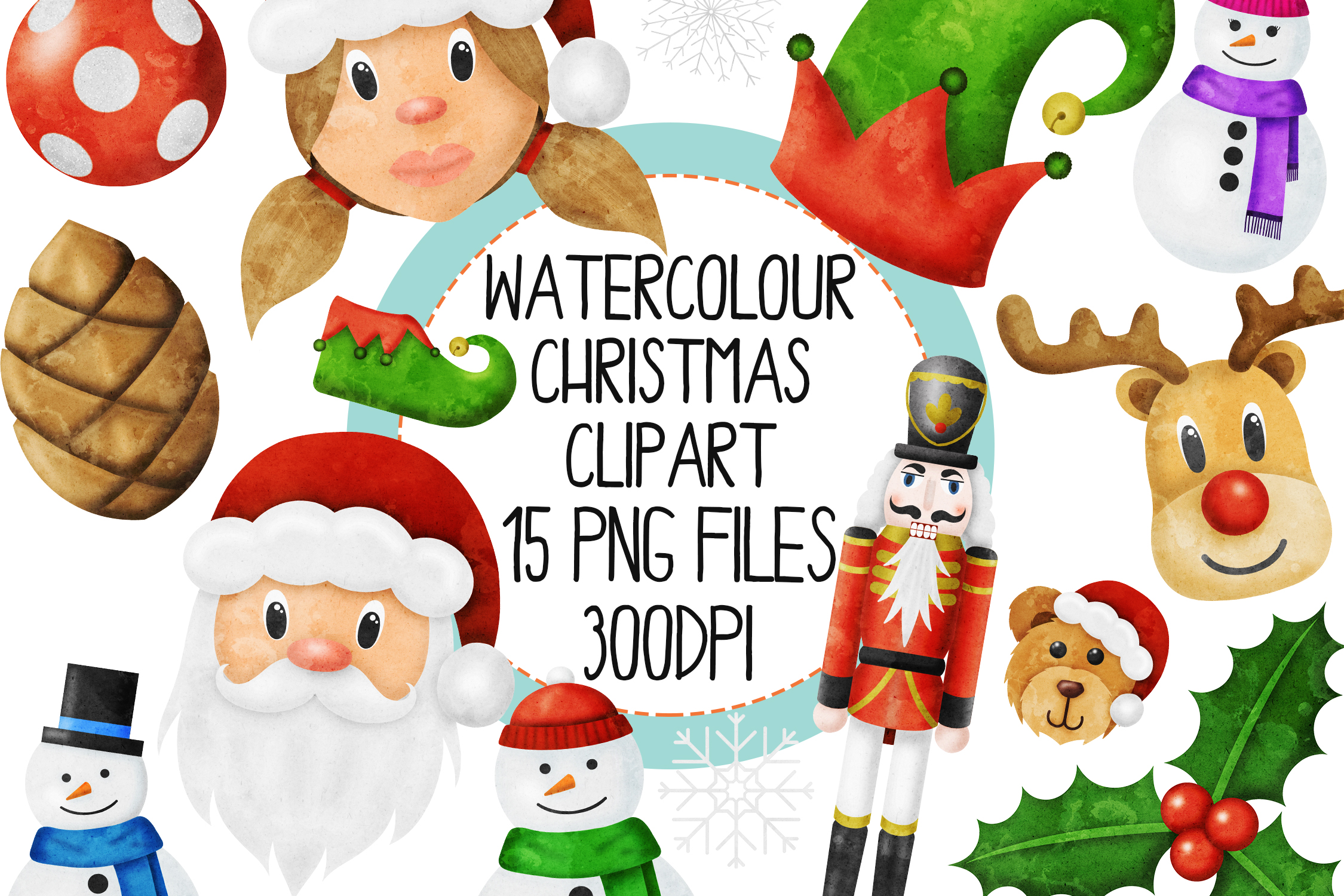 Watercolor Christmas Clipart Set 3 example image 1