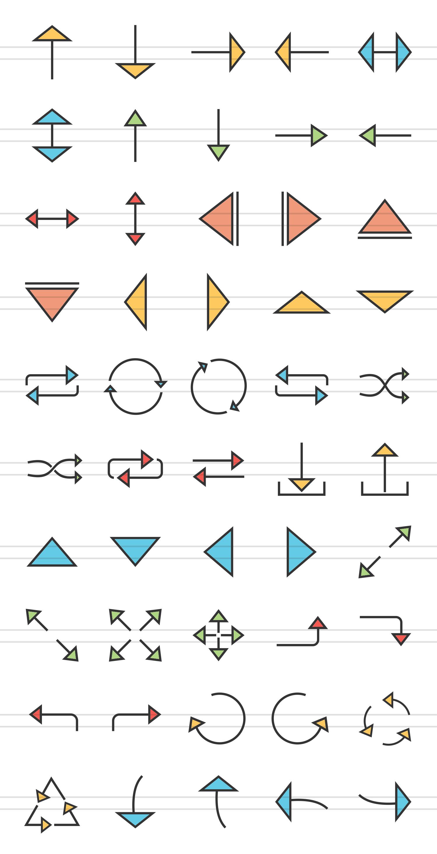 50 Arrows Linear Multicolor Icons example image 2