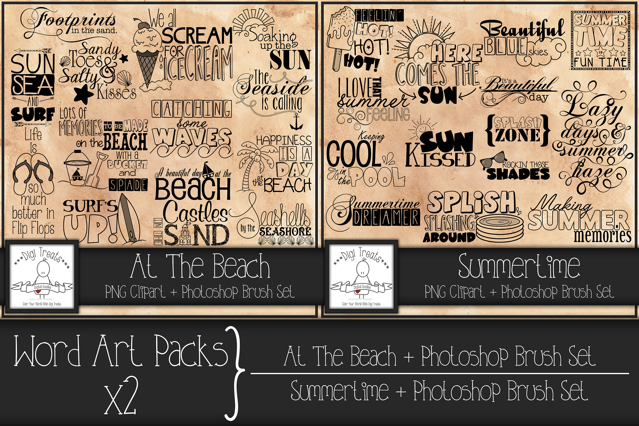 Word Art Packs x 2. A Day At The Beach And Summertime. example image 1