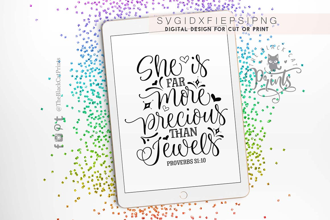 She is far more precious than jewels - Proverbs 3110 SVG DXF example image 3