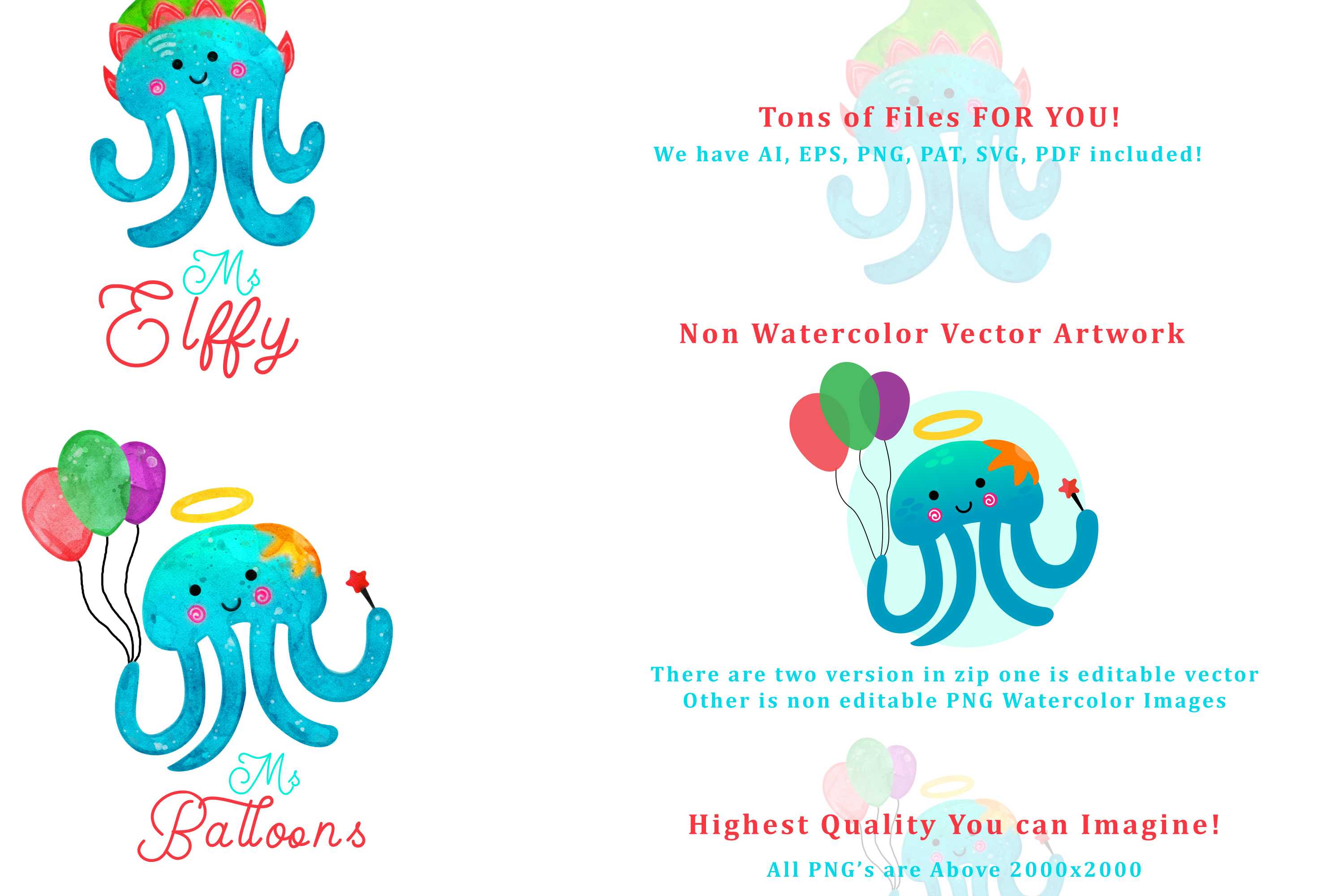 Christmas Jellyfish Watercolor Set and Vector Patterns example image 4