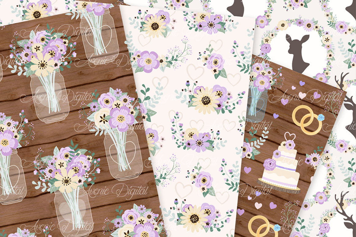 Purple Wedding Digital Paper - Lilac Rustic Wedding Deer Seamless Patterns example image 3