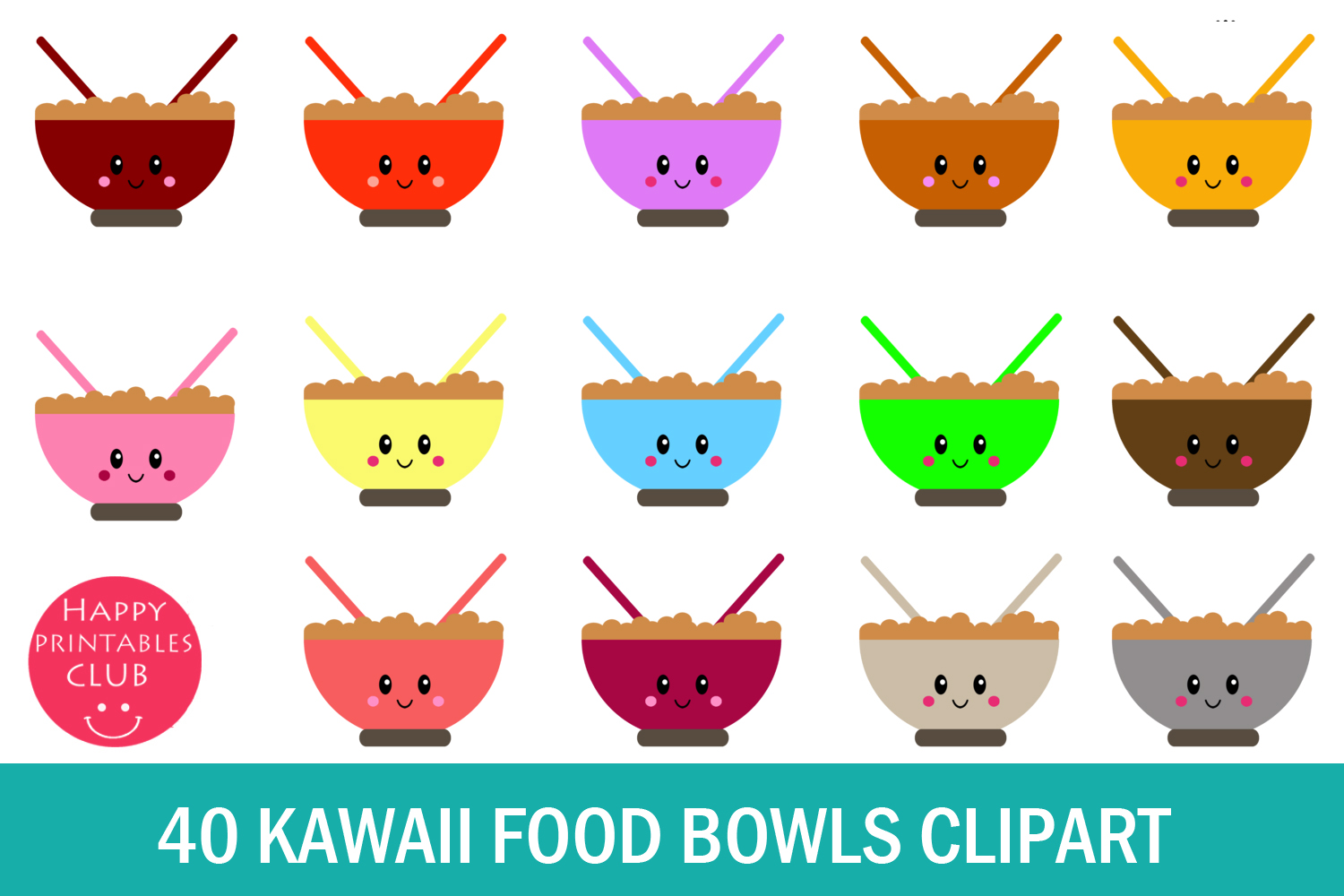 40 Kawaii Breakfast Bowl Clipart- Cereals Bowl Clipart-PNG example image 1