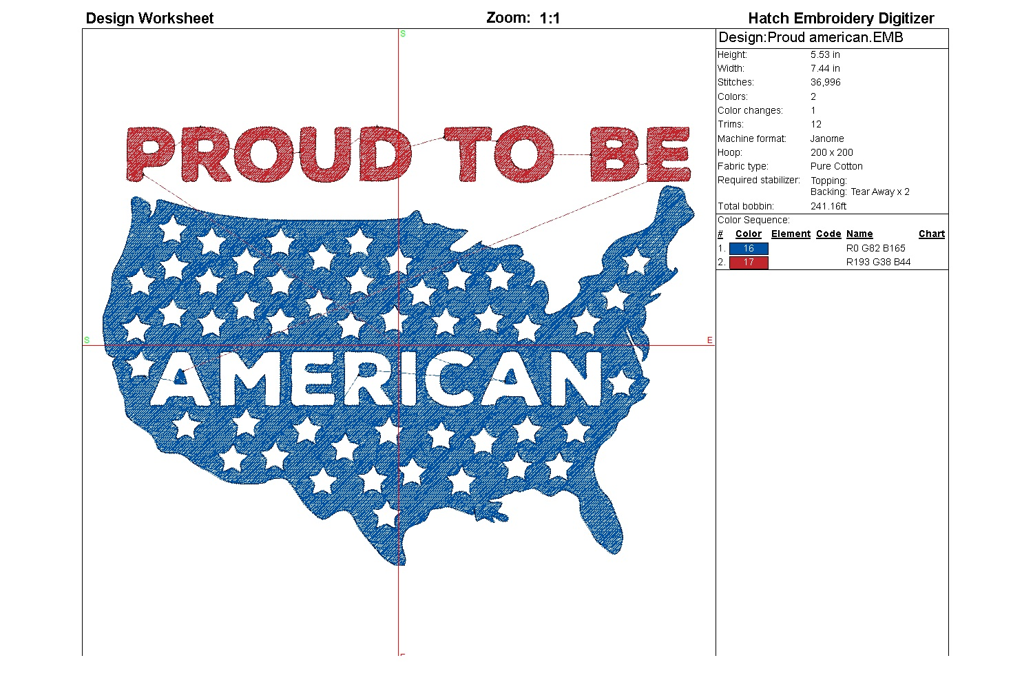 Proud American| Independence day | Machine embroidery| example image 5