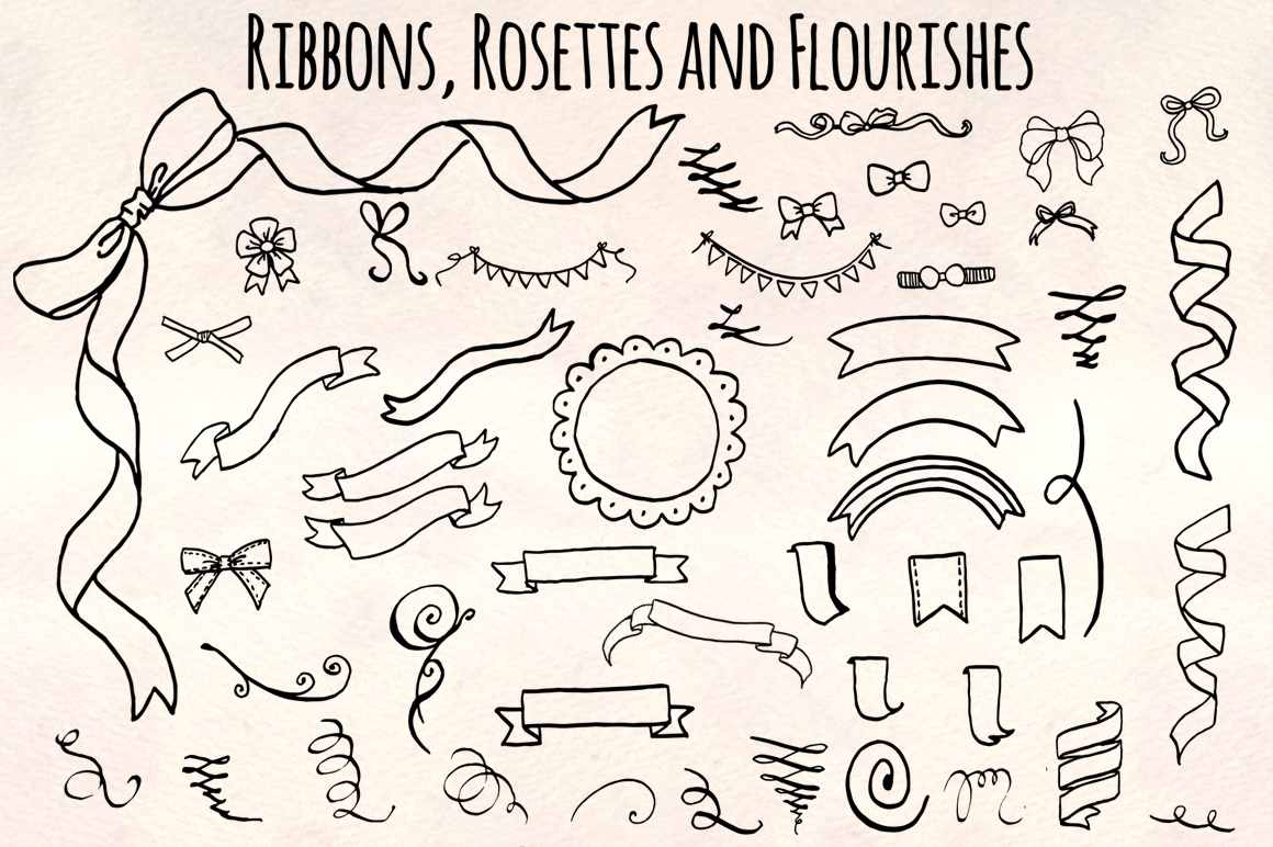 Ribbons Rosettes Flourishes Titles Vector Sketch Bundle example image 2