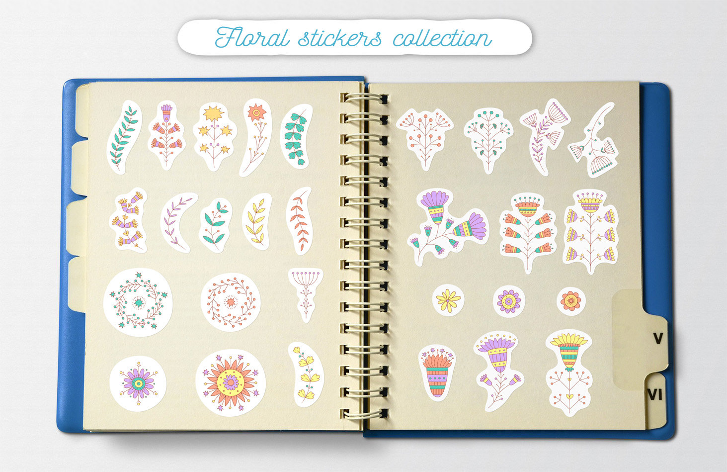 Floral stickers collection example image 3