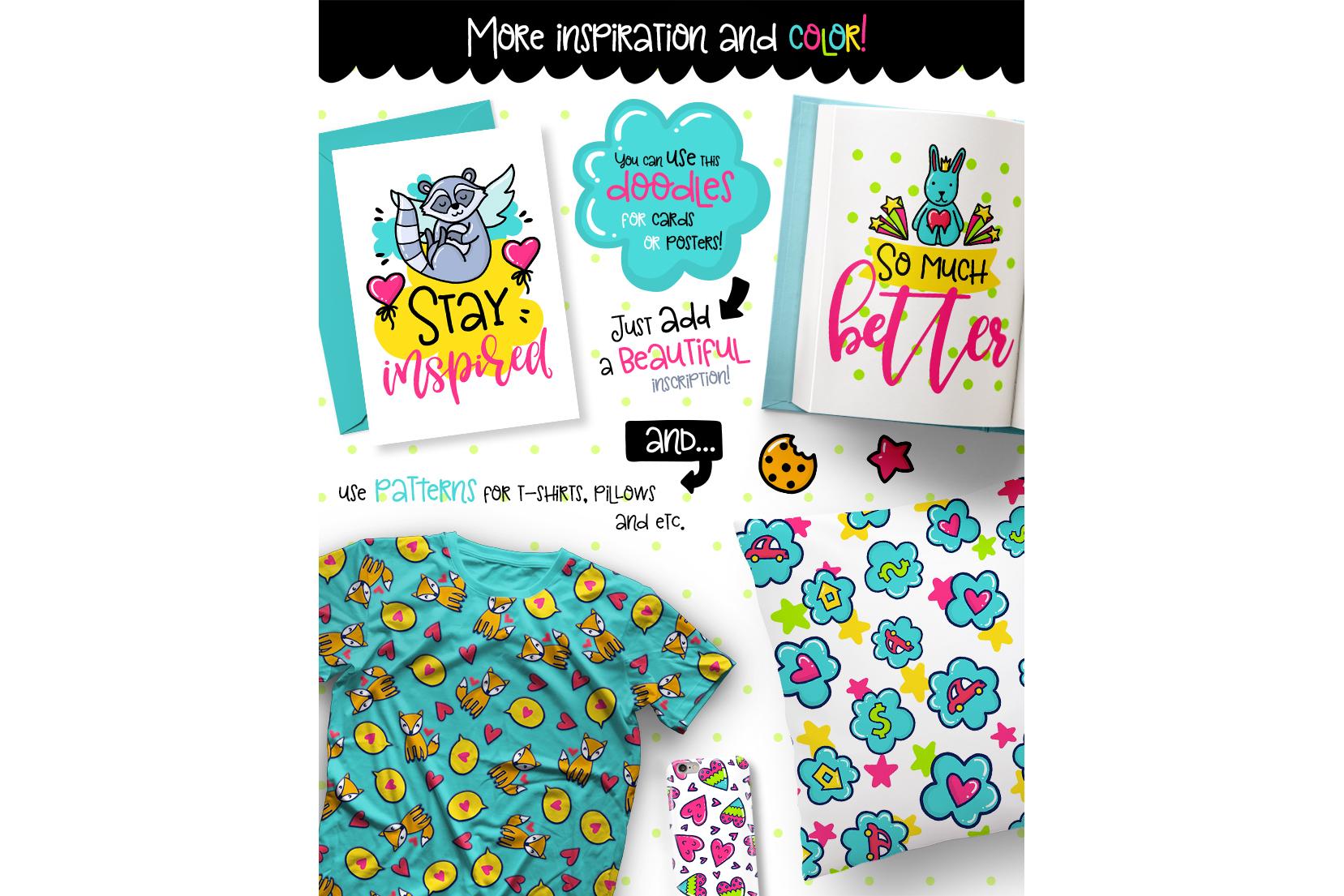 700 Doodles & Patterns - Clipart Set example image 5