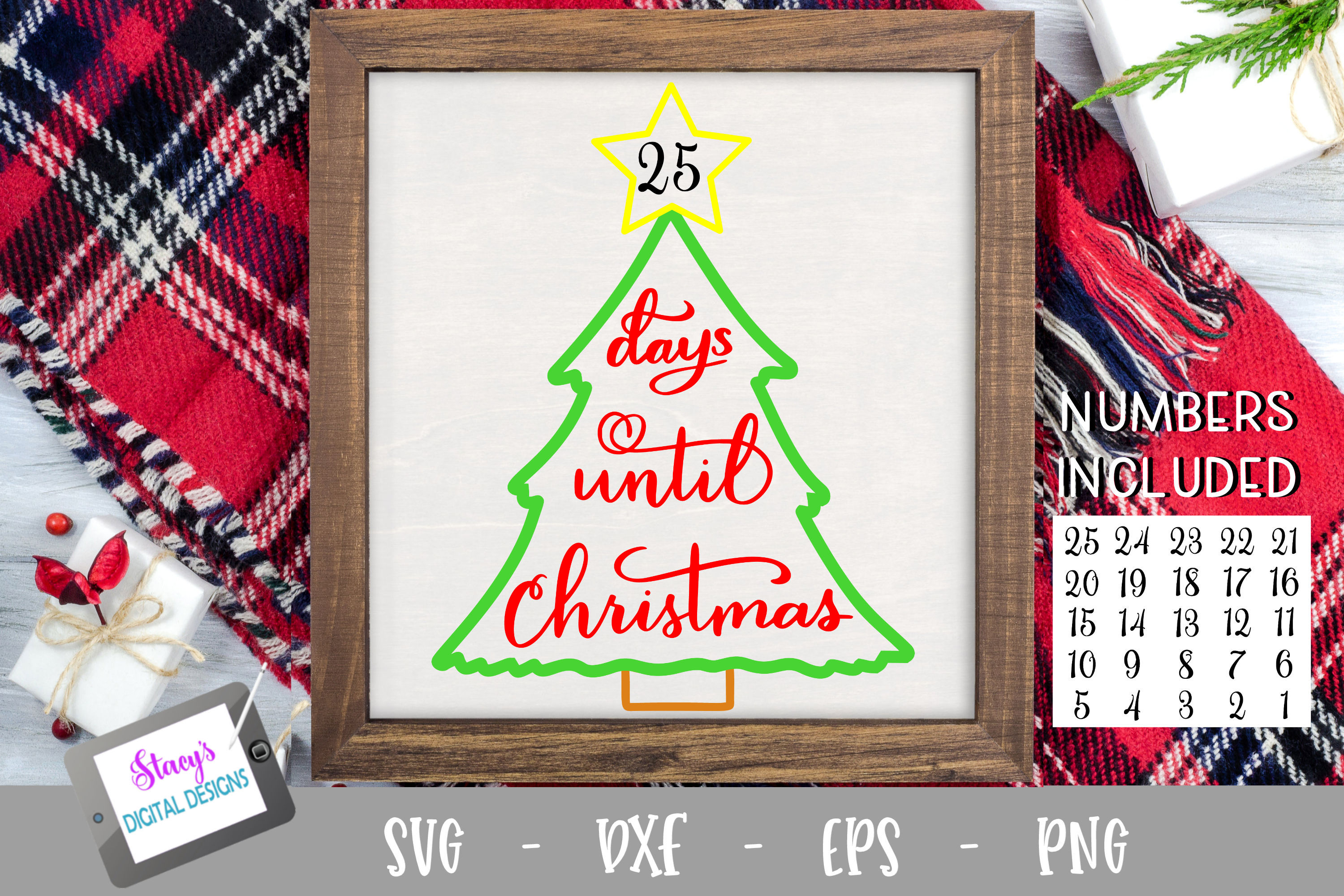 Days until Christmas SVG - Christmas Countdown - Outlines example image 1