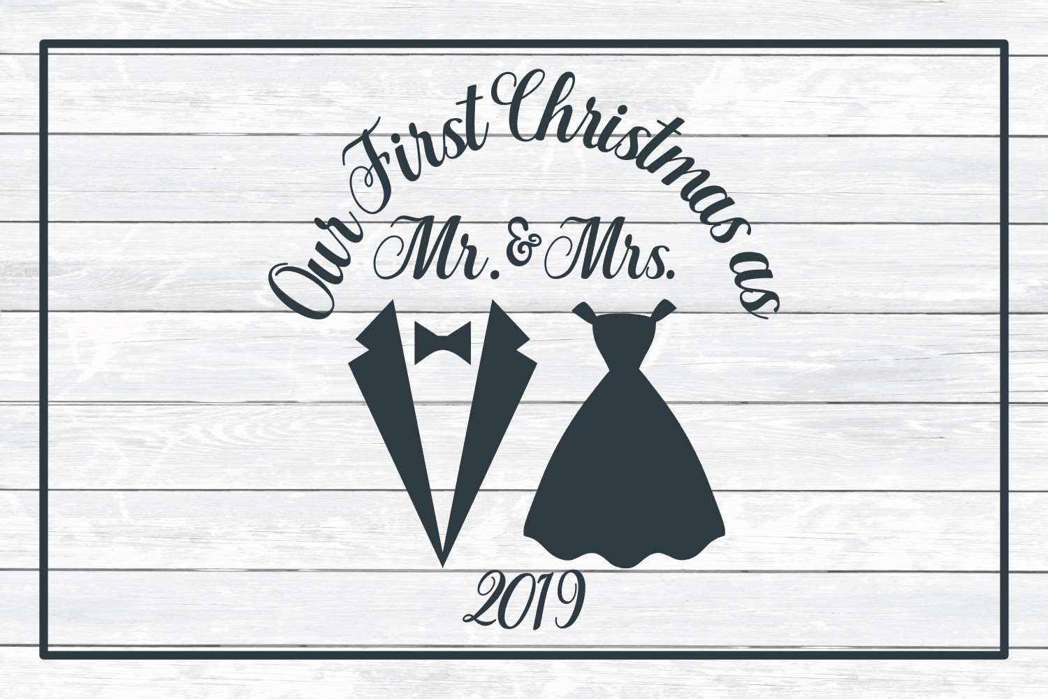 Our First Christmas as Mr. & Mrs., SVG Cut File for Crafters example image 3