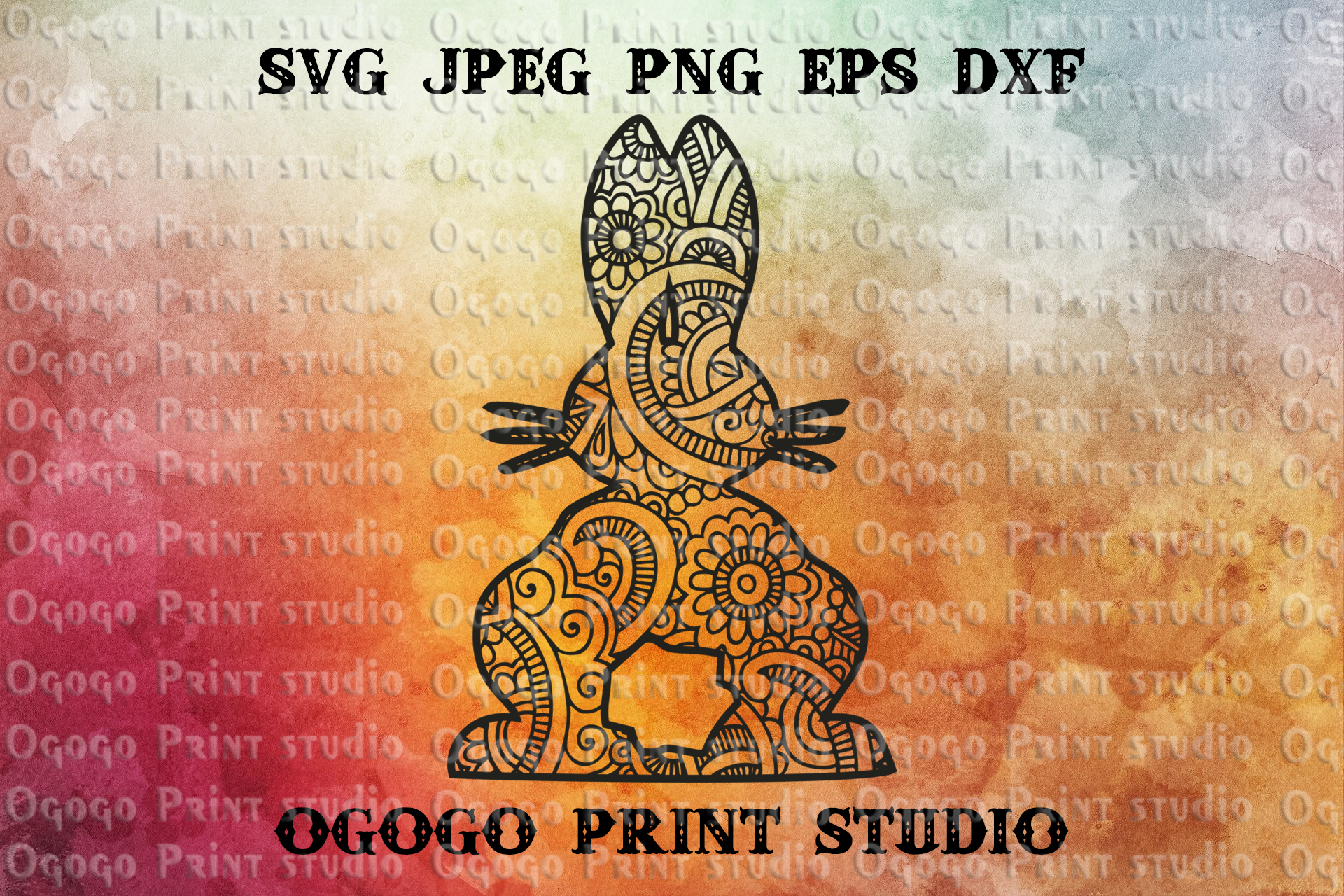 Bunny svg, Easter svg, Mandala svg, Zentangle SVG, Cricut example image 1