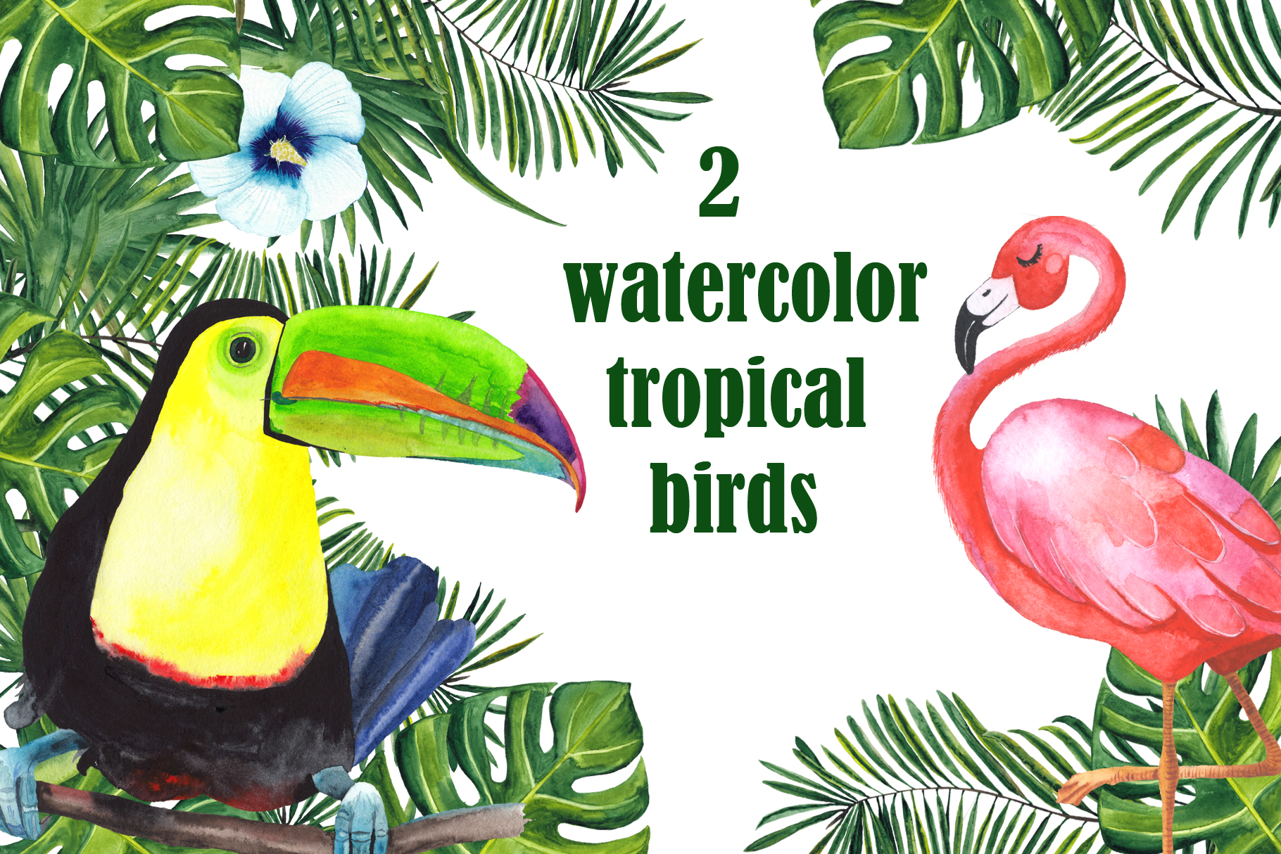Tropical watercolor collection example image 3
