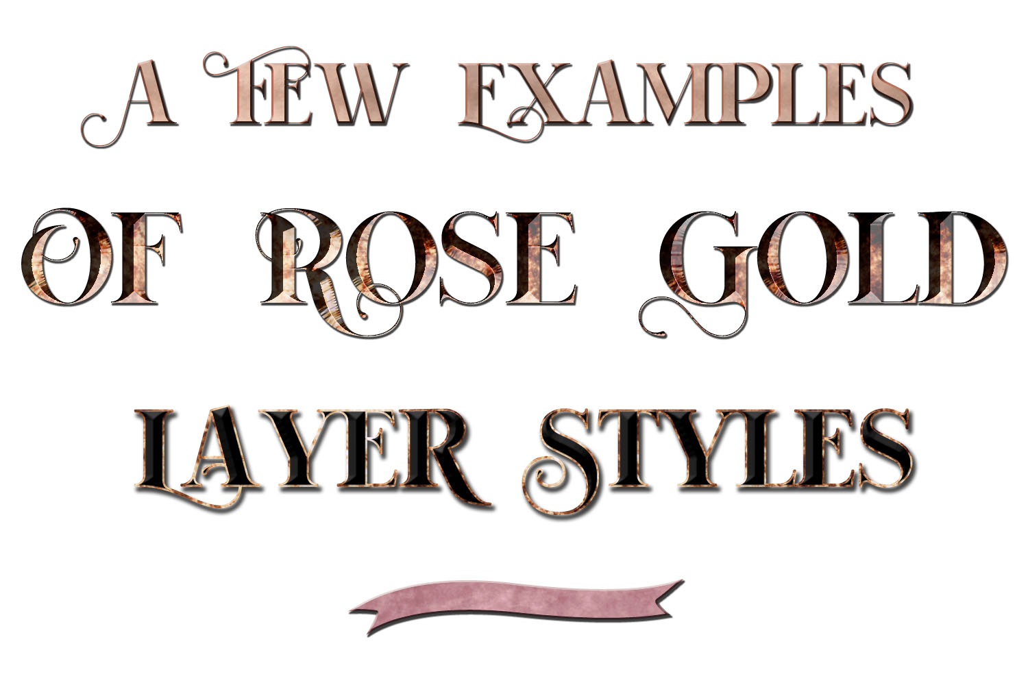 20 Rose Gold Metallic Layer Styles for Photoshop example image 2