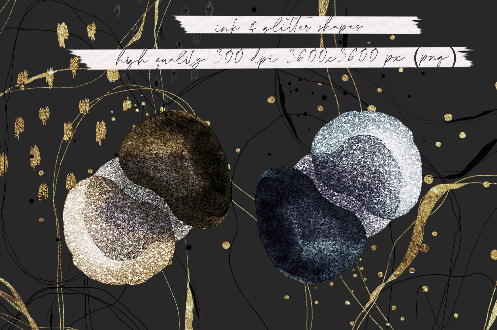 Ink & Abstract Glitter Shapes example image 9