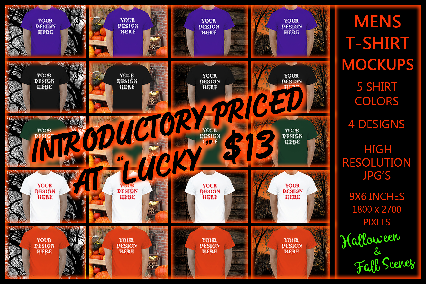 Halloween and Fall Men t-shirt Mockup Bundle, Colored T's example image 1
