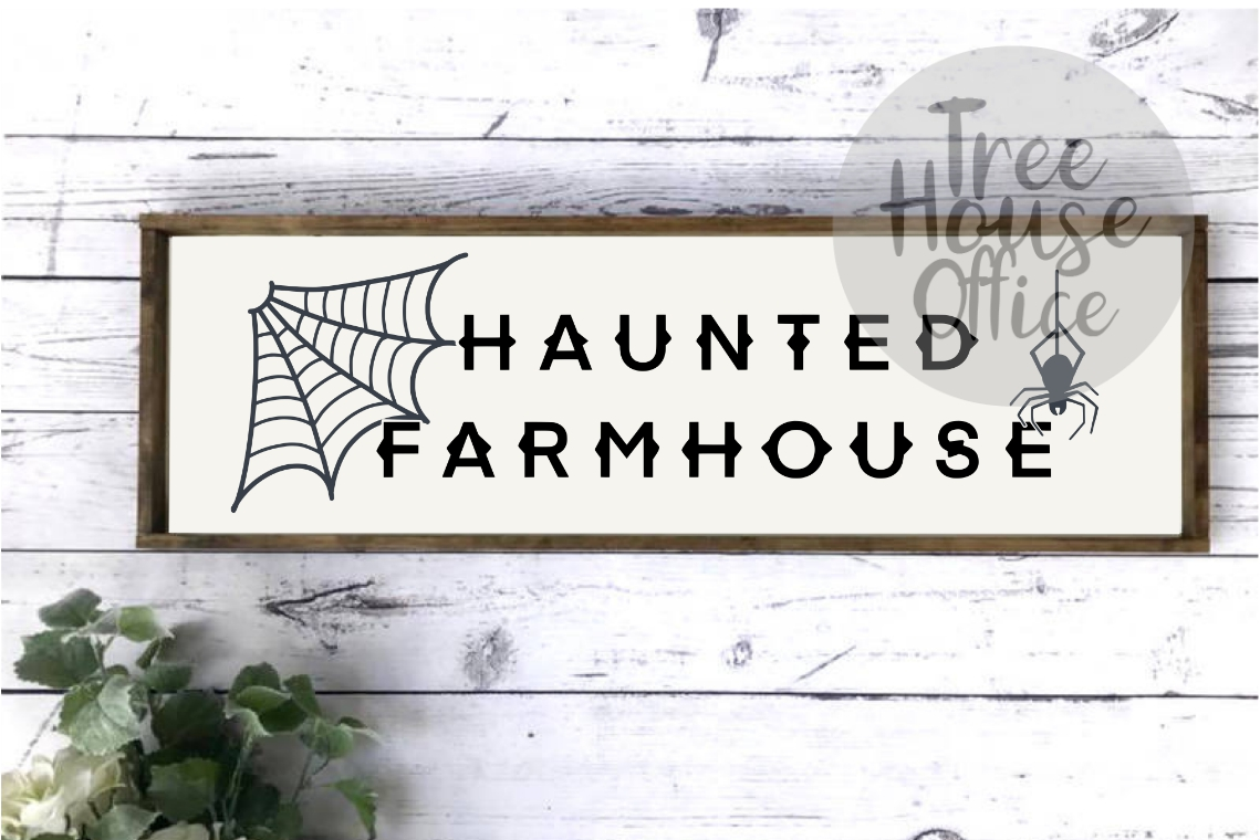 Haunted Farmhouse Halloween Front Porch SIgn SVG PNG JPG DXF example image 1