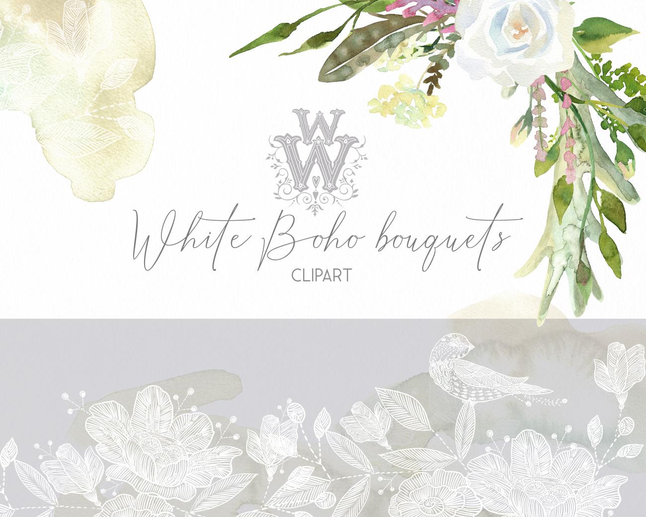 Watercolor floral wedding bouquets, boho compositios wreath example image 7