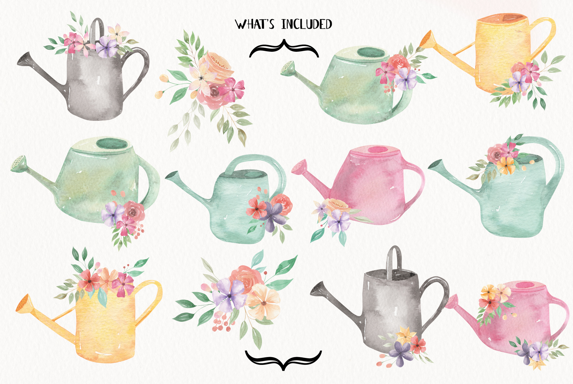 Watering Can Watercolor Floral Spring 12 Bouquets Spring example image 7