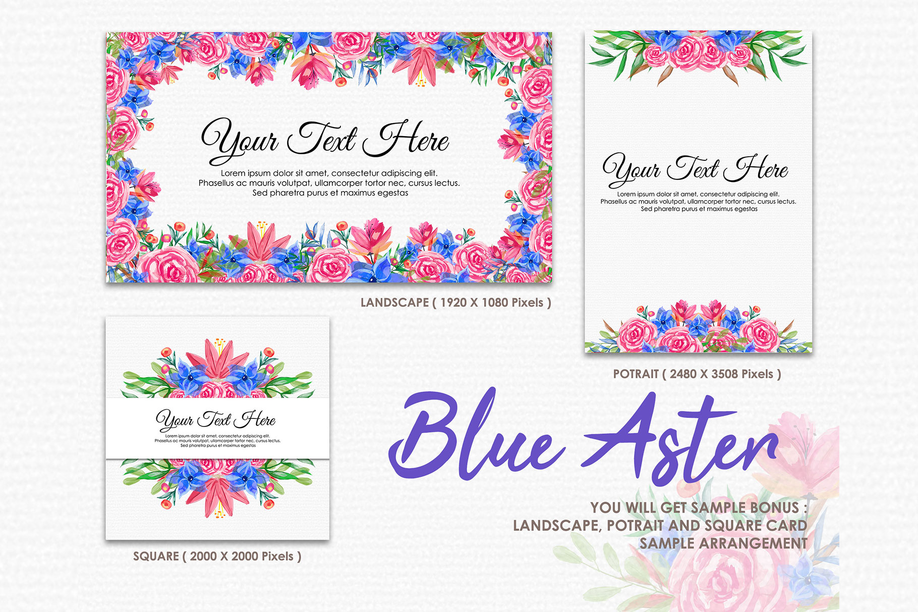 Blue Aster - Digital Watercolor Floral Flower Style Clipart example image 4