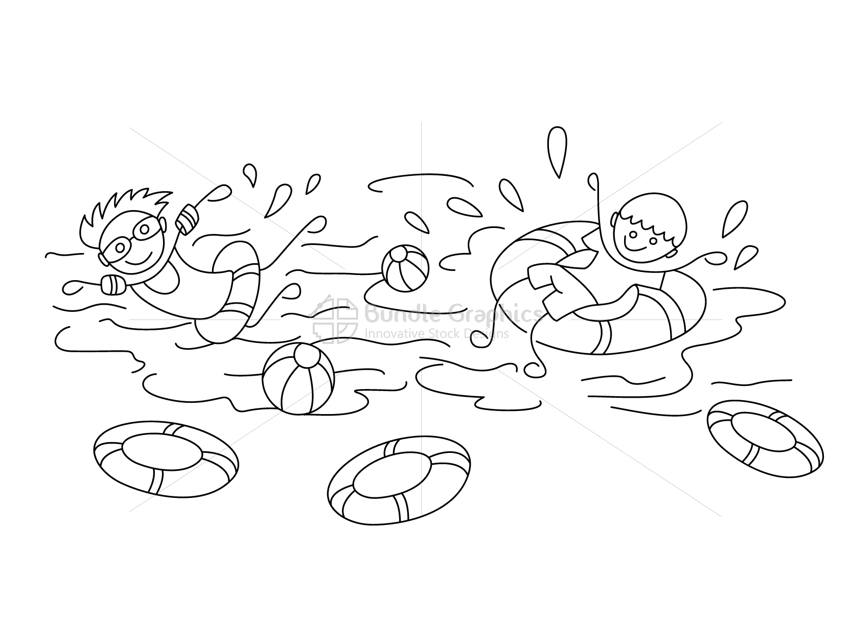 Kids Swimming Graphical Illustration example image 3