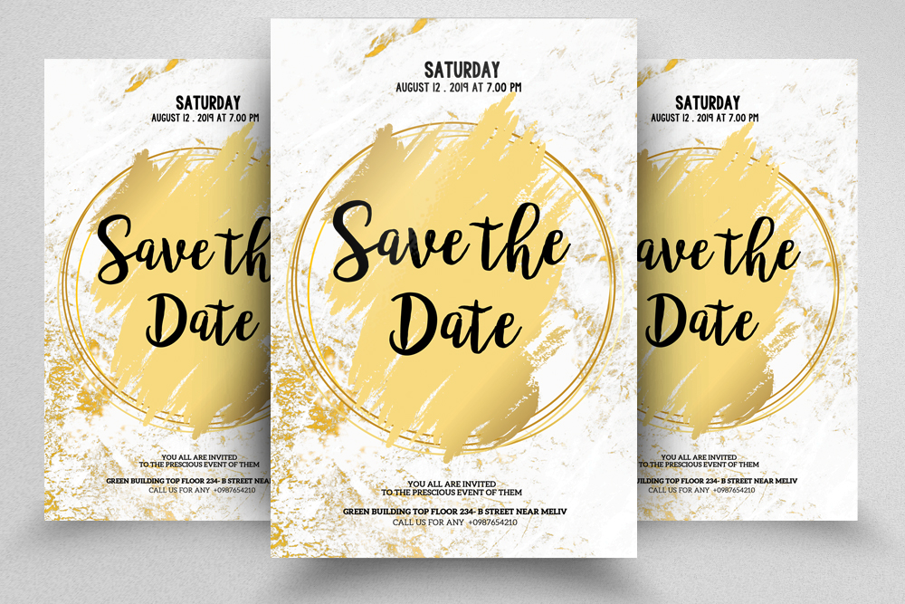 4 Wedding Invitation Flyers Bundle example image 3