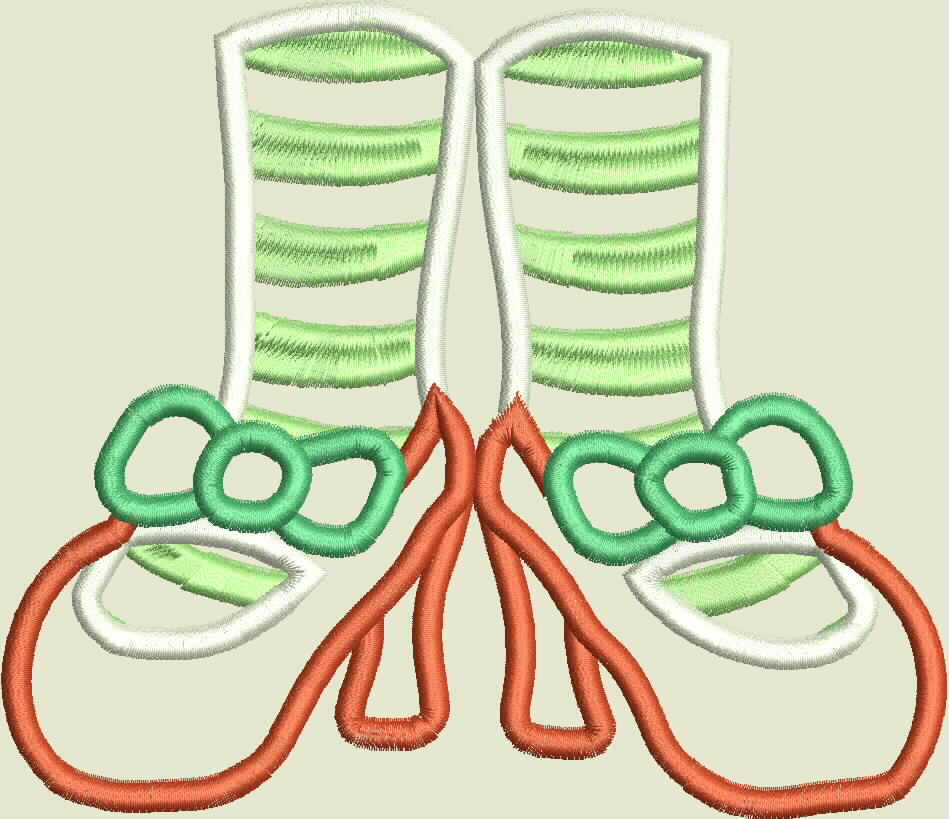 Mrs Clause Feet Machine Applique Embroidery Design example image 2