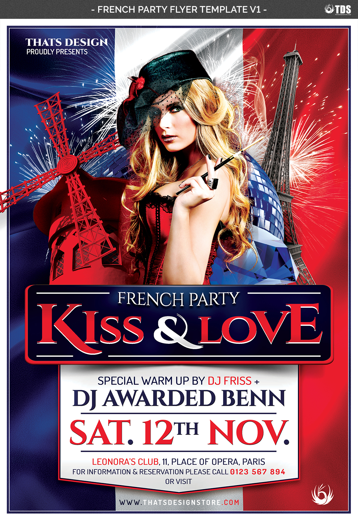 French Party Flyer Template V1 example image 4