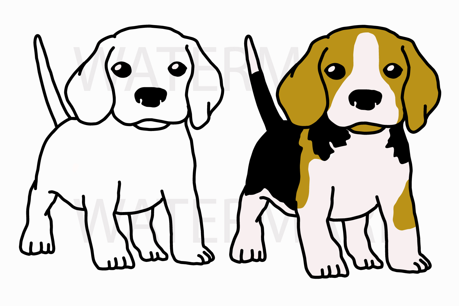 Cute Beagle Puppy Ready to play - Both outline and Color version - SVG/JPG/PNG Hand Drawing example image 1