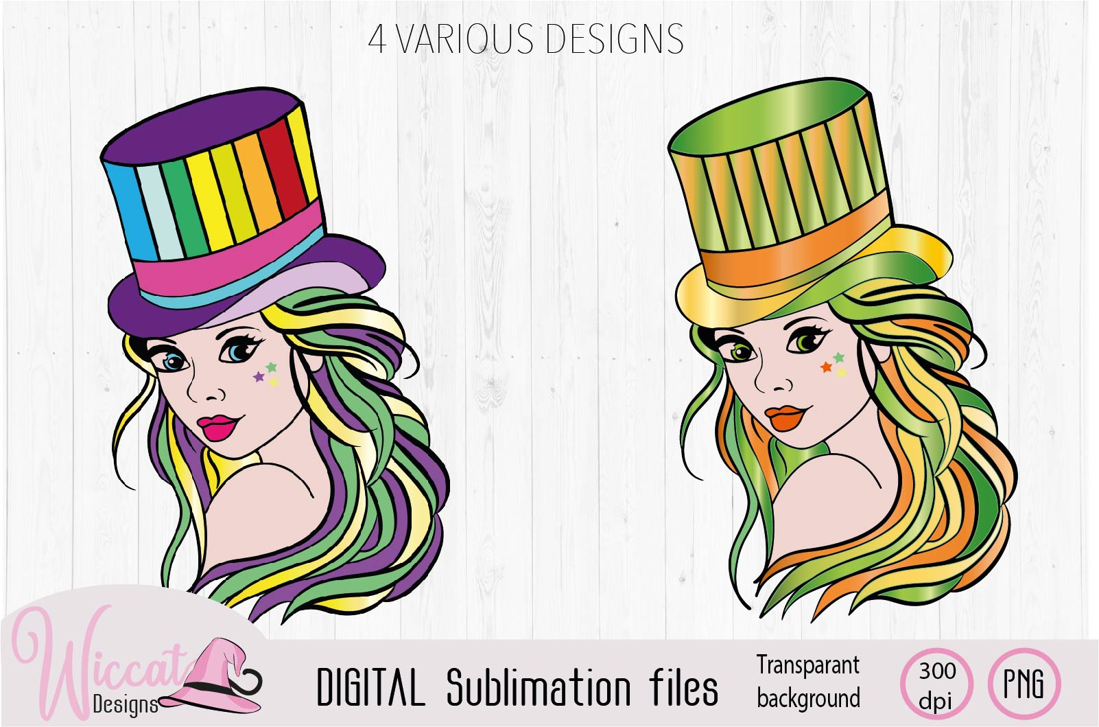 Girl with top hat in USA and rainbow sublimation example image 2