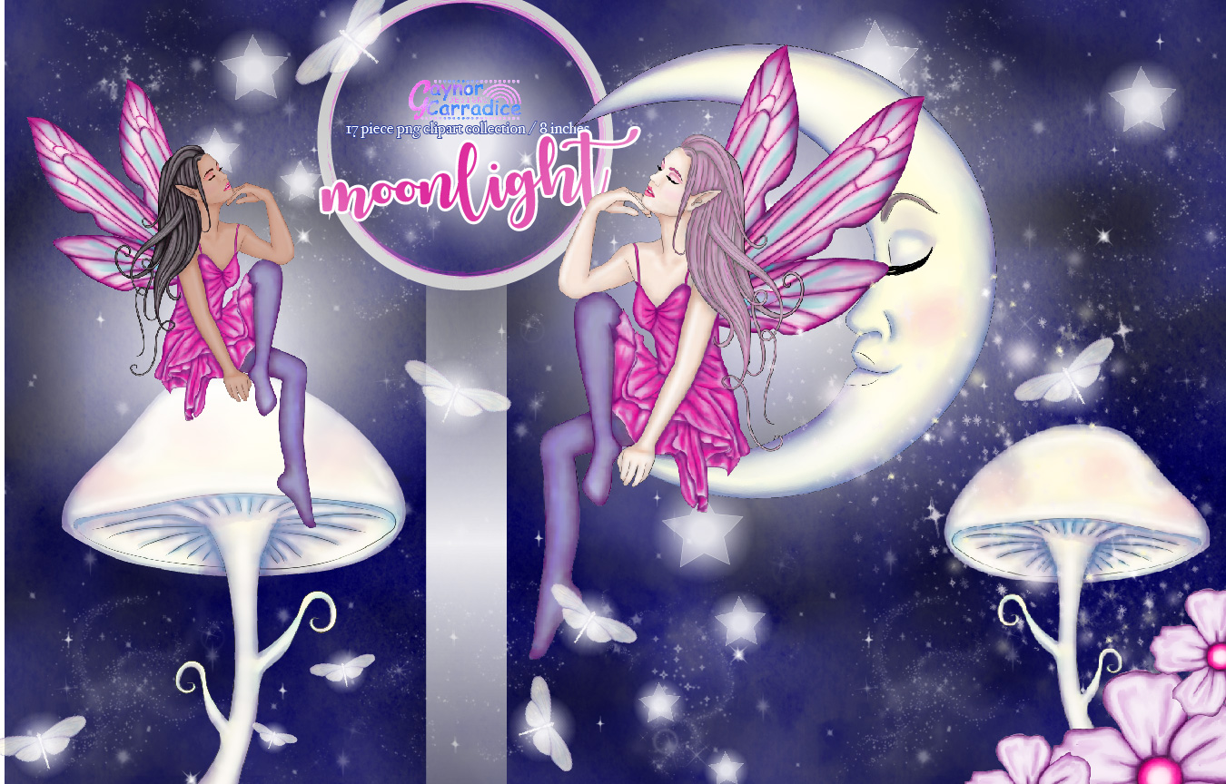 Moonligh Fairy Clipart Collection example image 1