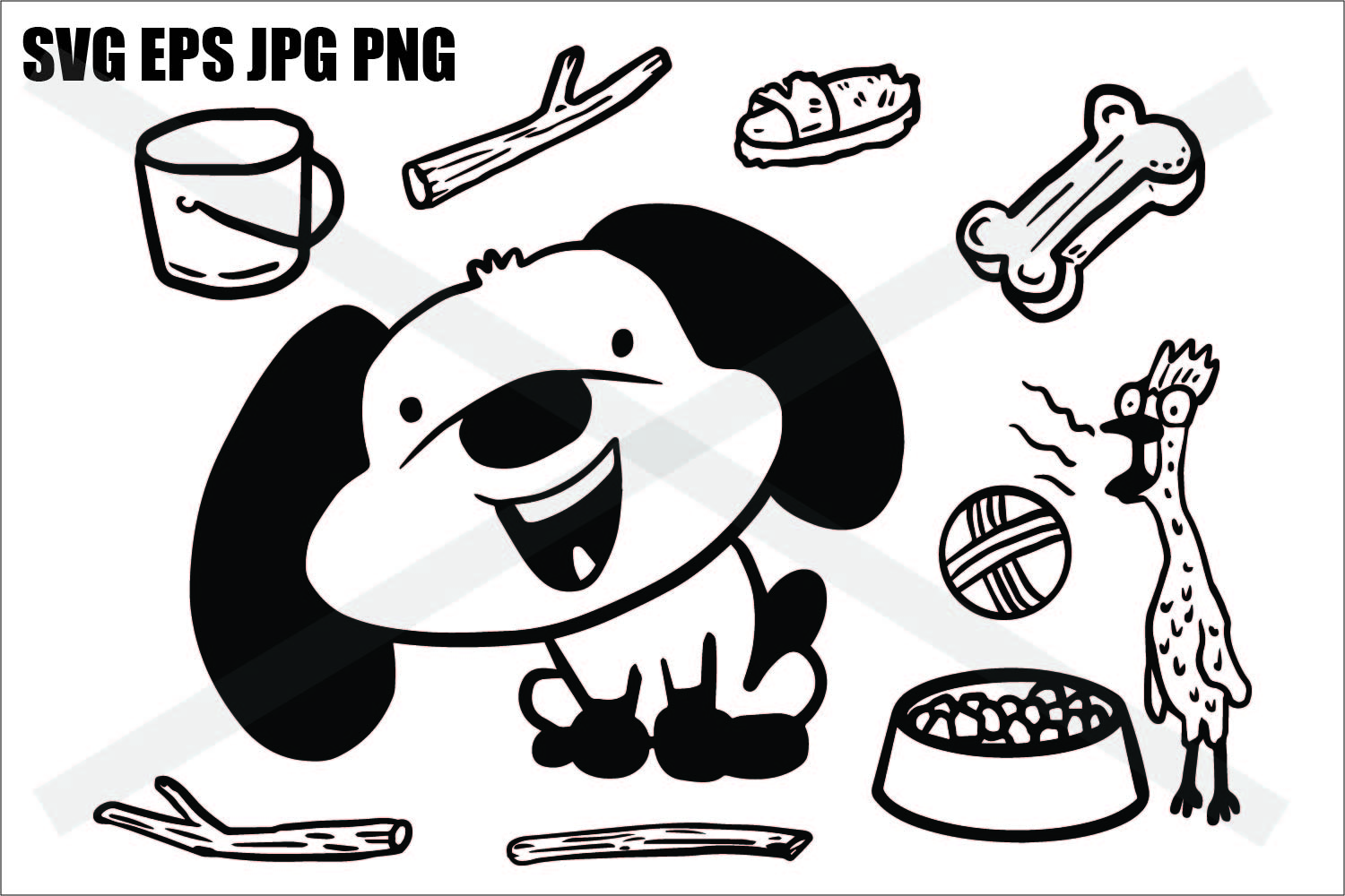 Cute Dog Elements- SVG-EPS-JPG-PNG example image 1