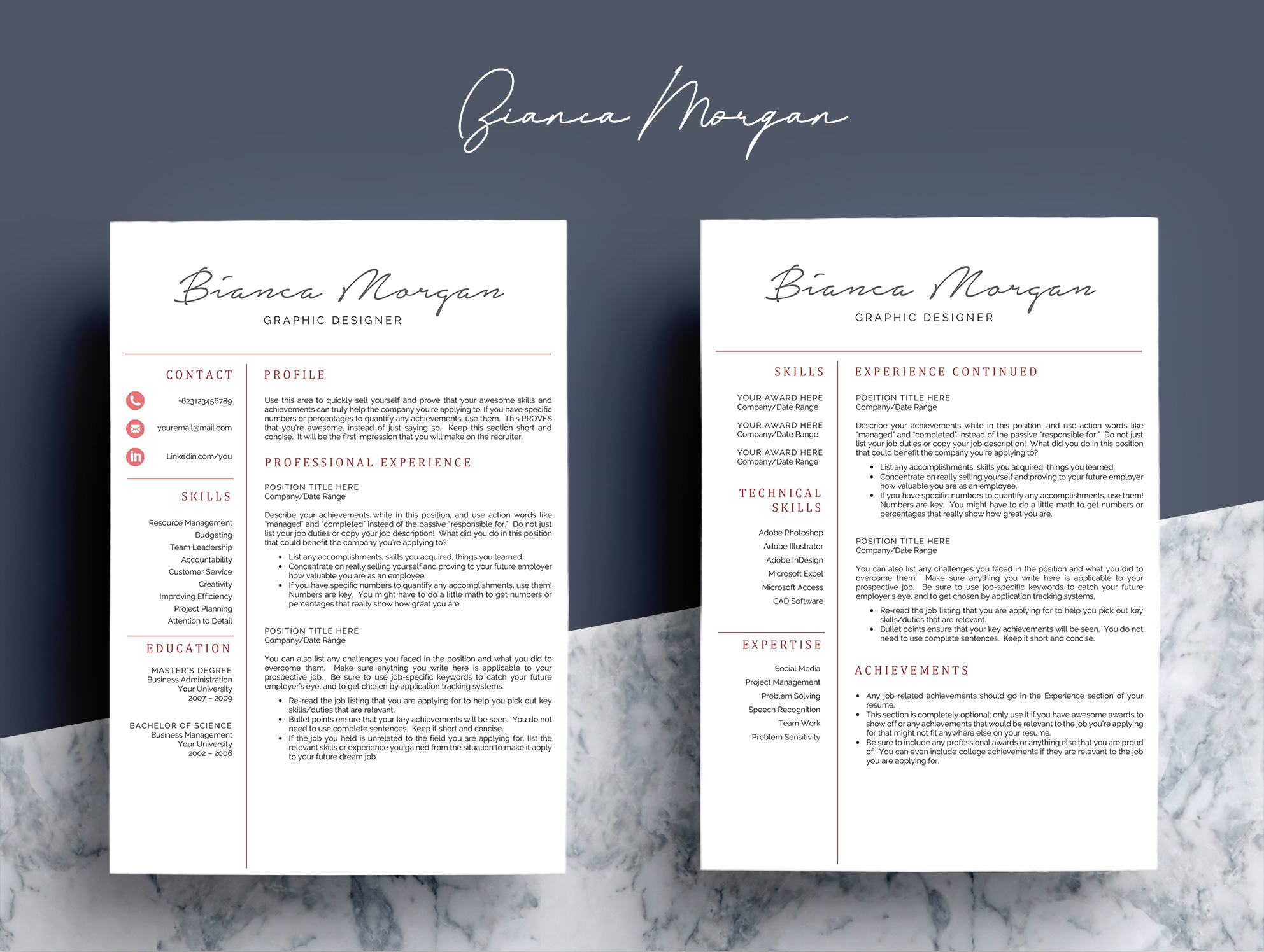 Creative Word Resume Template CV example image 4