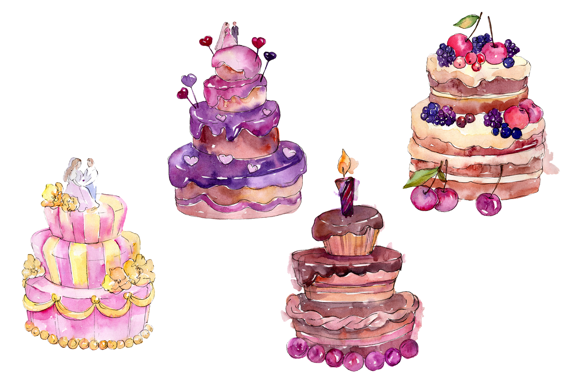 Dessert michel Watercolor png example image 1