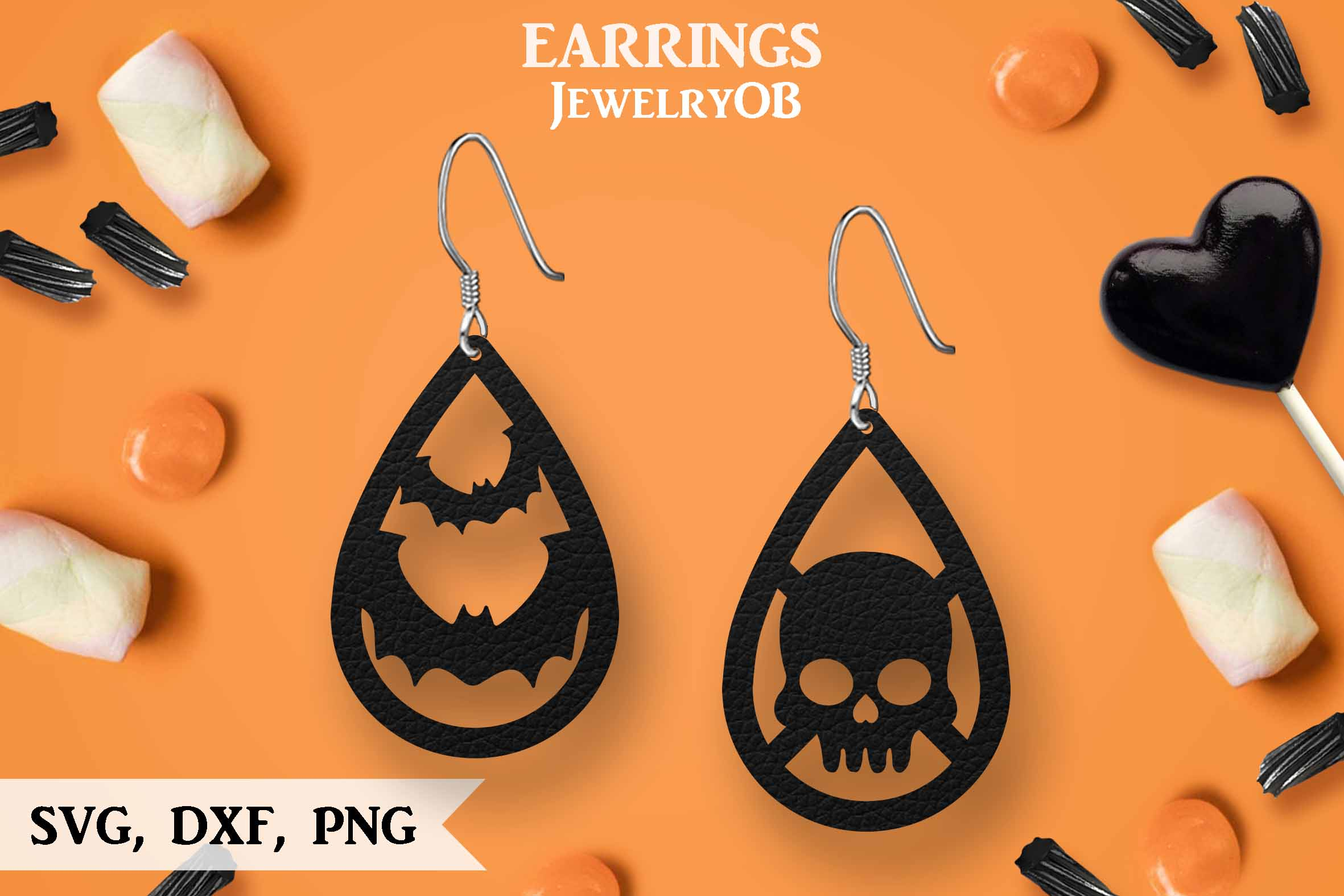 Halloween Earrings, Cut File, SVG DXF PNG Formats, Bat Skull example image 1