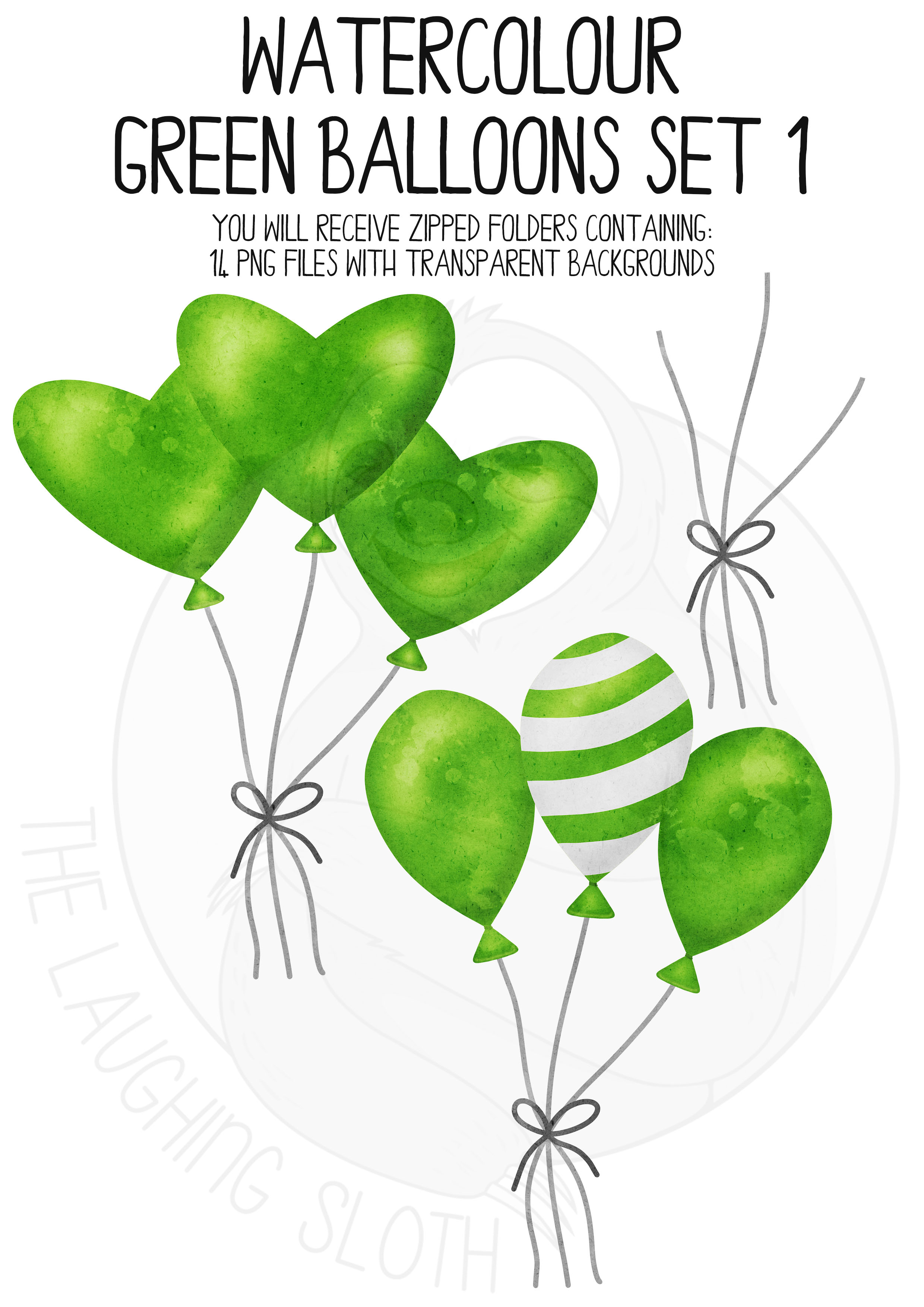 Green Watercolor Balloon Clipart Set example image 5