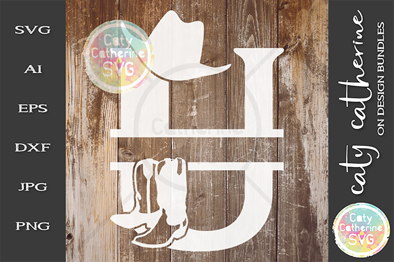 Letter U Cowboy Monogram SVG Includes Cowboy Boots example image 1