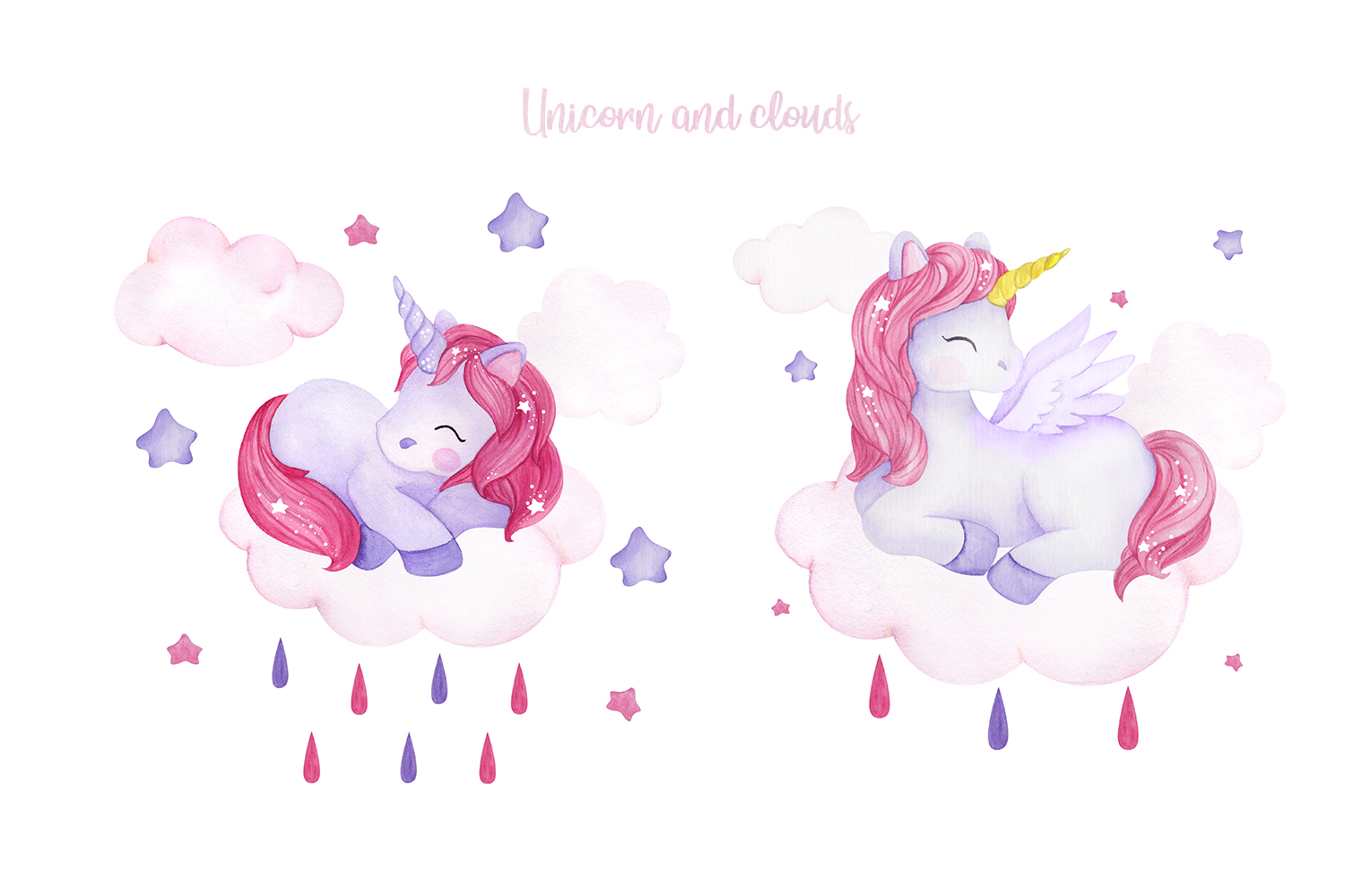 Unicorn set. Watercolor collection example image 3