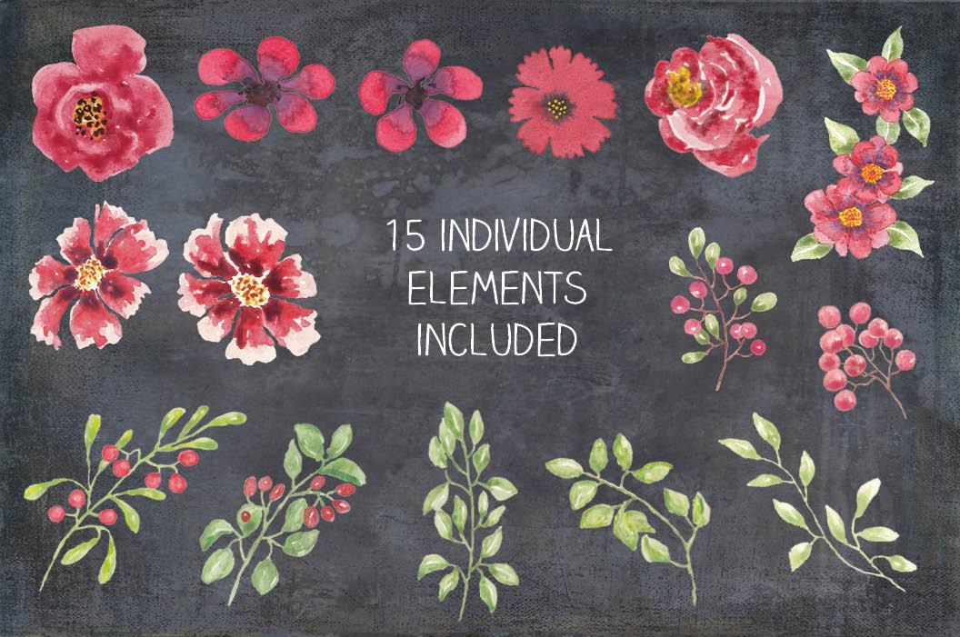 Watercolor clip art bundle: red berries 'n blooms example image 3