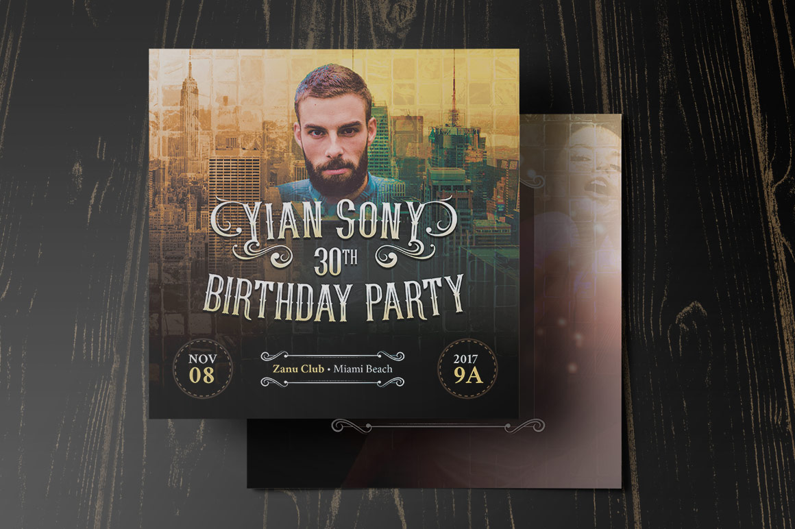 Hipster Small Birthday Party Flyer Template example image 3