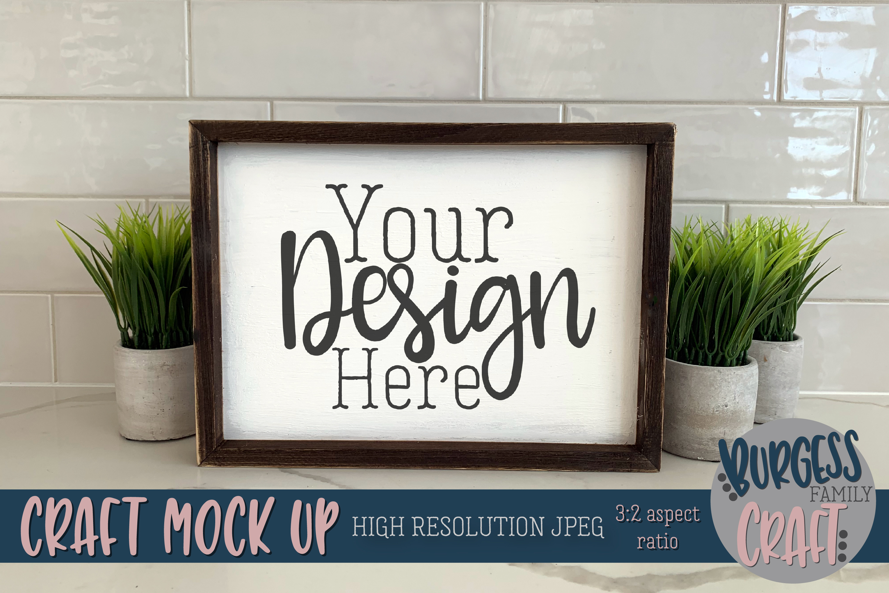 Wood sign plants Craft mock up |High Res JPEG example image 1