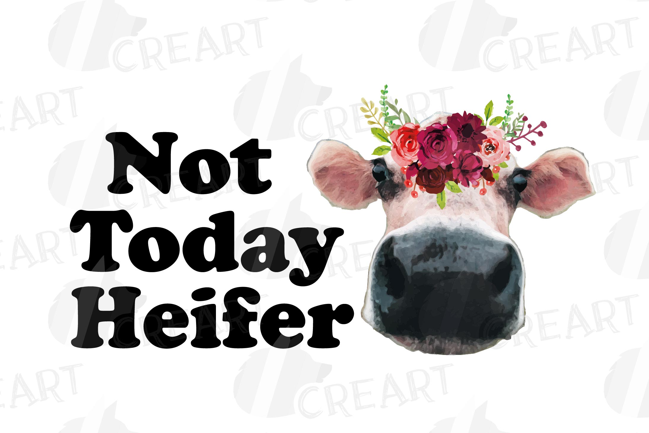 Not today Heifer printable floral burgundy decor, floral cow example image 13