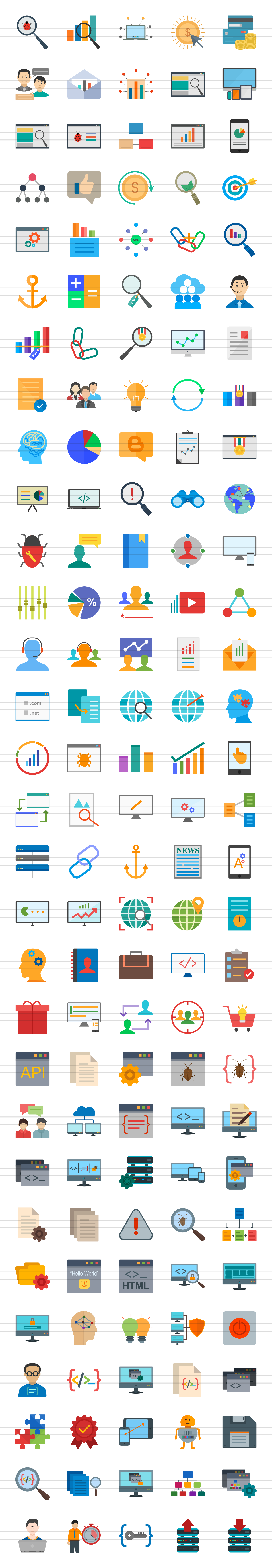 150 SEO & Development Flat Icons example image 2
