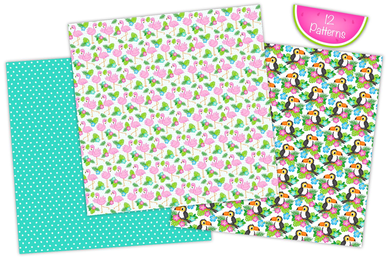 Tropical digital papers, Flamingo digital papers, Cactus example image 2