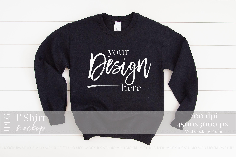 Gildan 18000 Mockup   Sweatshirt Mockup BLACK example image 1
