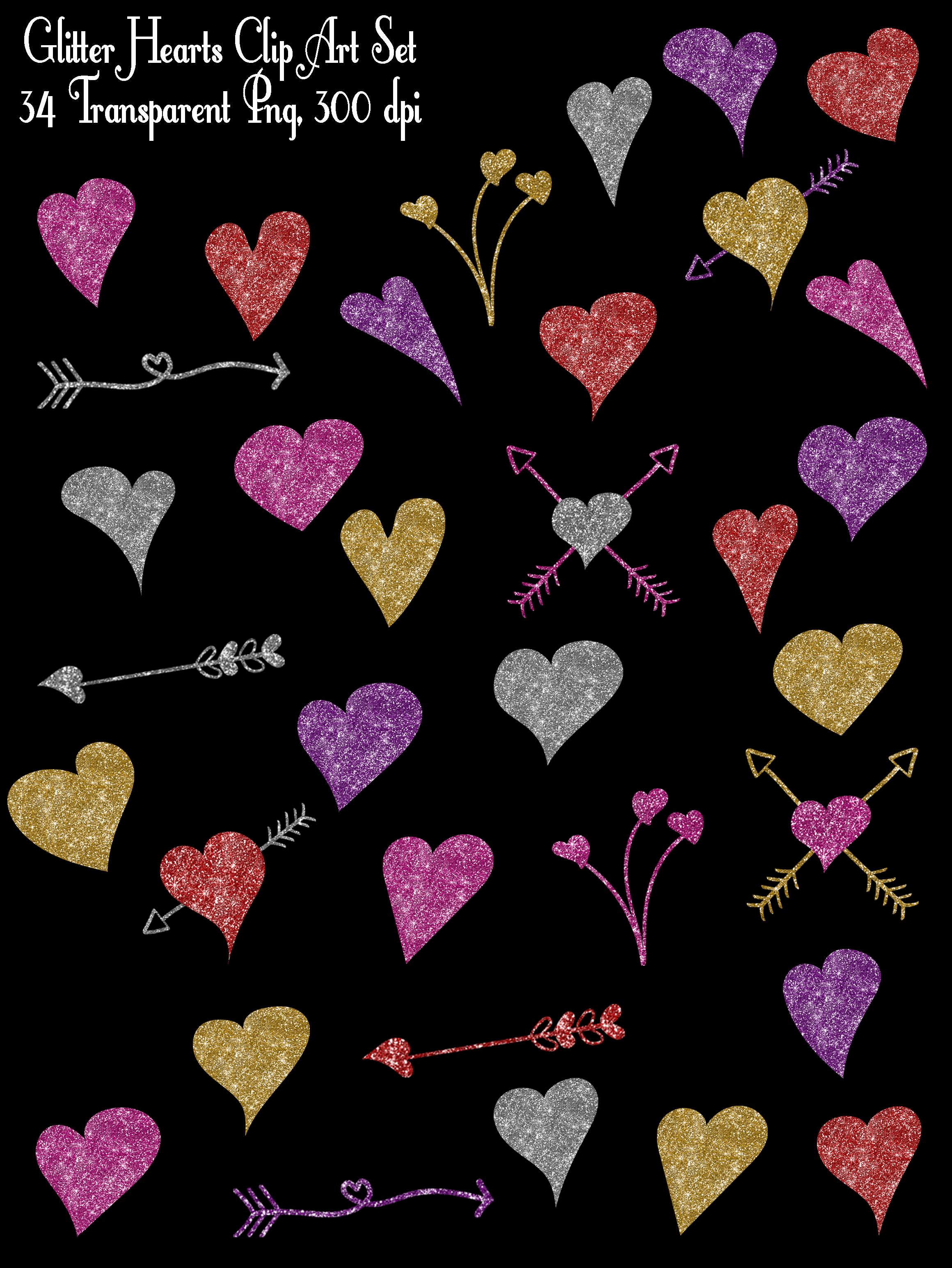 Glitter Valentine Hearts Clip Art - PNG example image 2