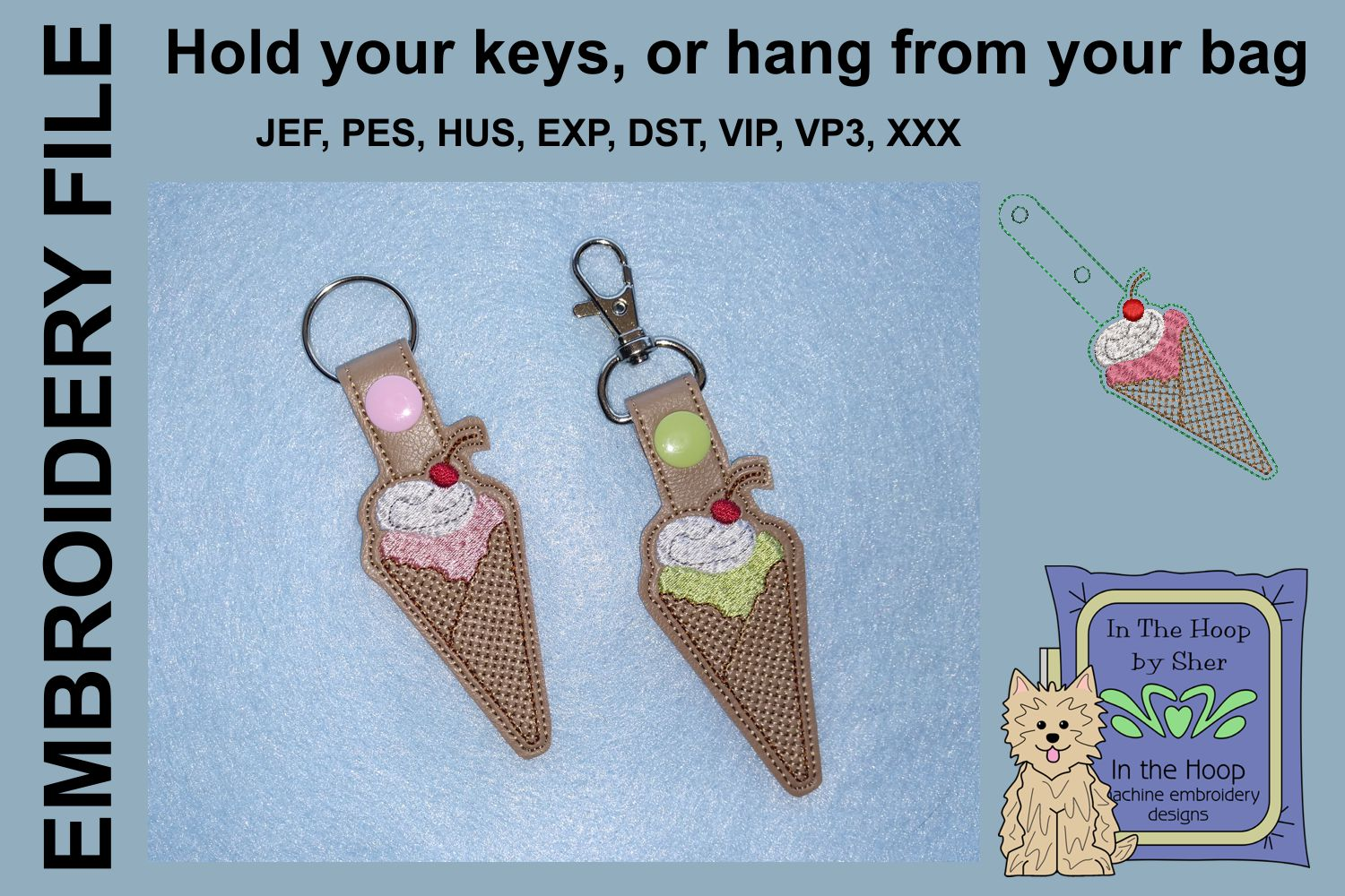ITH Waffle Cone Vinyl Key Fob or Bag Tag - Snap Tab example image 1