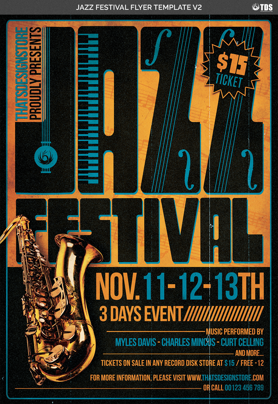 Jazz Festival Flyer Template V2 example image 4
