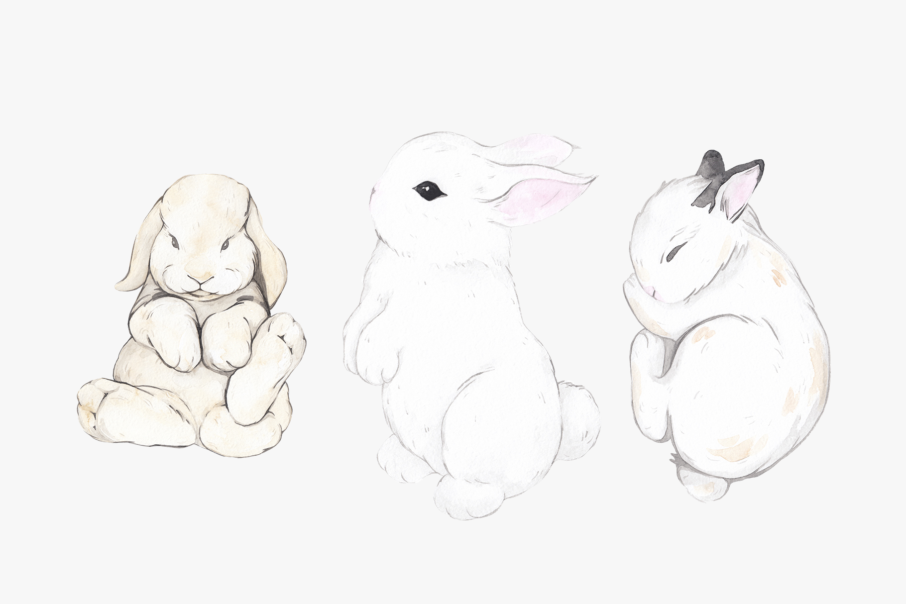 WHY SO CUTE 10 Easter watercolor bunnies example image 4
